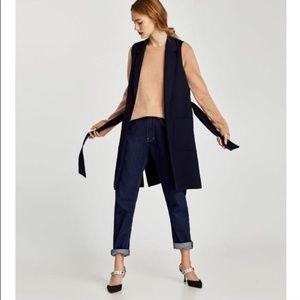 Zara Basic XL Navy Waistcoat w/ Lapels & Belt Vest